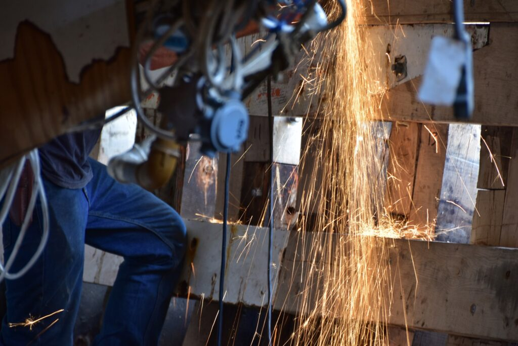 sparks from angle grinder