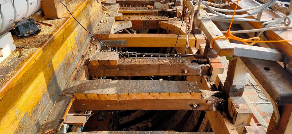 Deck beams with planks removed