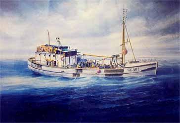 Painting of Britta trawling at sea