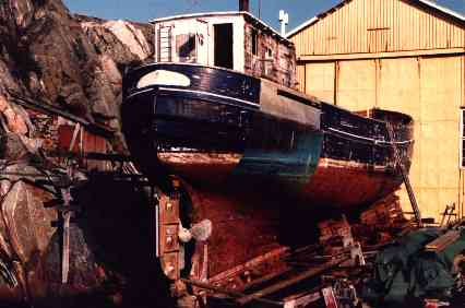 Britta in drydock during early refit